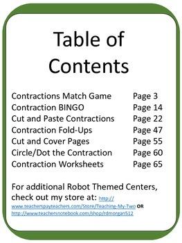 Robot Contraction ELA Literacy Center GAMES
