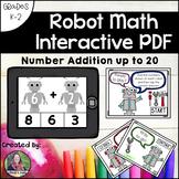 Addition Math Interactive PDF: Addition to 20 Robot