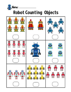 Robot Counting Objects 1-10 Worksheets Math Counting Objects to 10 for Boys
