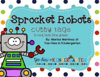 Robot Cubby Tags- Red, Teal, Lime Green
