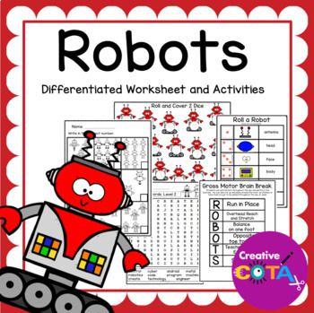 Robot Differentiated Worksheets and Activities
