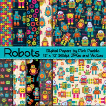 Robot Digital Papers Printable Papers Scrapbook Papers