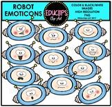 Robot Emoticons Clipart Bundle {Educlips Clipart}