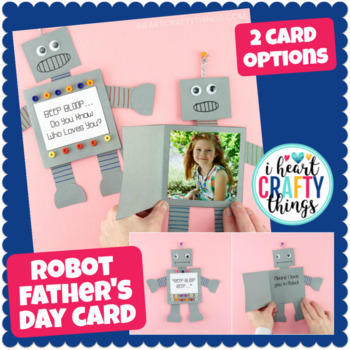 Robot Father's Day Card Template -Easy Father's Day Craft for kids to make!
