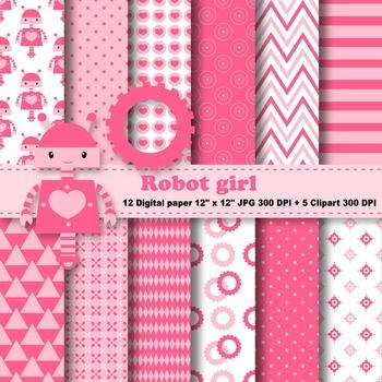 Robot Girl Digital Paper + Clipart