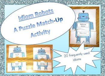 Robot Idiom Puzzle Match-Up Activity