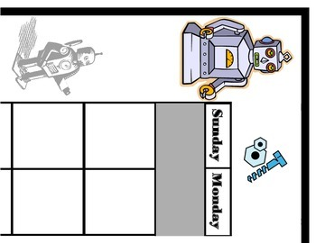 Robot Calendar Set! Robot Bulletin Board! Robot Theme Inte
