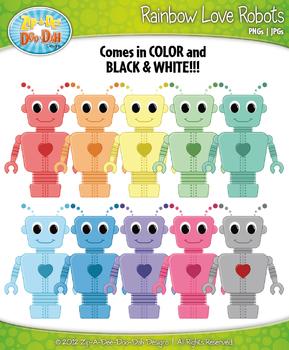 Rainbow Love Robots Clipart {Zip-A-Dee-Doo-Dah Designs}