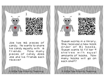 Division Word Problems with QR Codes