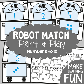 Robot Match - Math Center Game for Early Number