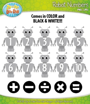 {FREE} Robot Math Numbers Clipart — Over 30 Graphics!