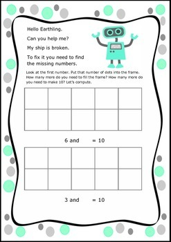 Robot Maths - Adding Numbers to Make 10 Using Tens Frame