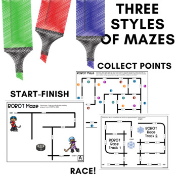 Robot Mazes for use with Ozobot Robots - January Coding Activities