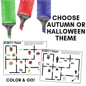 Robot Mazes for use with Ozobots - October Coding Activities