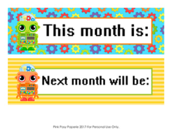 Robot Monthly Calendar Headers