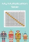 Robot Multiplication Chart Table Poster Printable Math