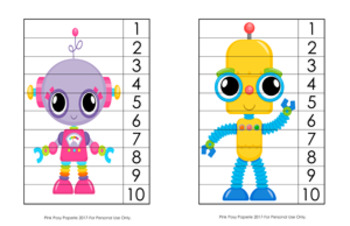 Robot Number Counting Strip Puzzles - 8 Designs