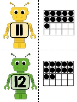 Robot Ten-Frame Cards - Math Center for Primary Students