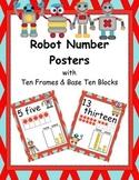 Robot Number Posters with Ten Frames & Base Ten Blocks