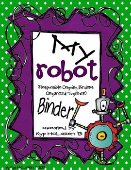 Robot Organizational Binder Set