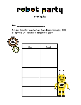 Robot Party Kindergarten Math Game:  Greater Than, Equal To