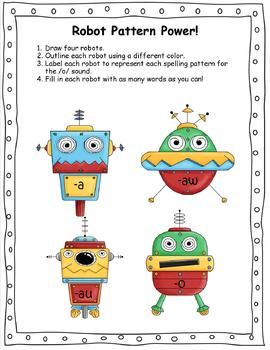 Robot Pattern Power!  Working with the /o/ Spelling patterns