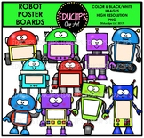 Robot Poster Boards Clip Art Bundle {Educlips Clipart}