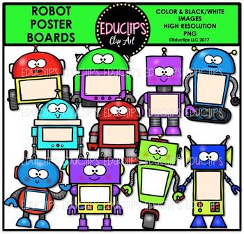 Robot Poster Boards Clip Art Bundle {Educlips Clipart}