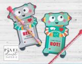 Robot Printable Valentine Treat Holder Cards
