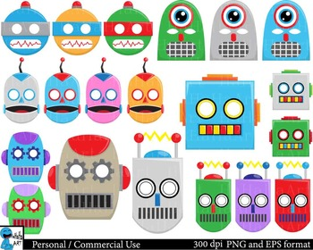 Robot Props -  Clip Art Digital Files Personal Commercial Use cod152