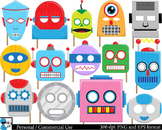 Robot Props -  Clip Art Digital Files Personal Commercial