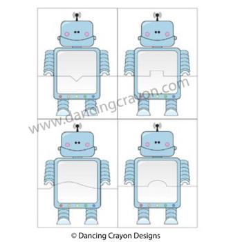 Robot Puzzle Cards and Robot Frames - Clip Art Set