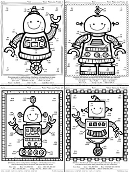 robot regrouping addition math printables color by the code puzzles. Black Bedroom Furniture Sets. Home Design Ideas
