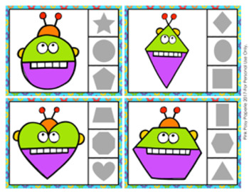 Robot Shapes Clip Cards