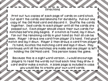 Robot Sight Word Old Maid Game