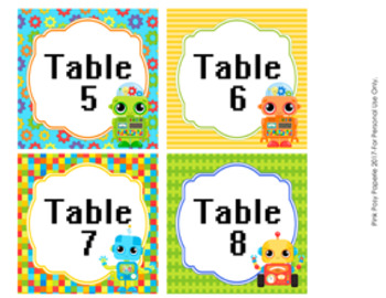 Robot Table Numbers