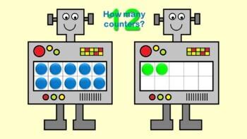 Robot Ten Frames Interactive Colour PowerPoint Presentation