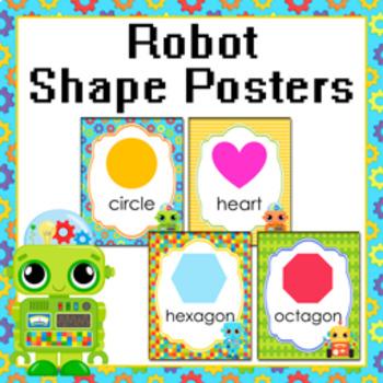 Robot Theme 2D Shape Posters