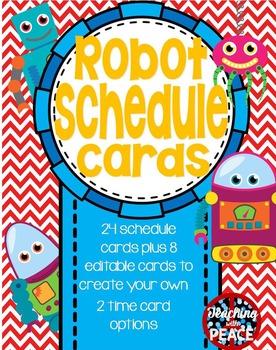Robot Theme Class Schedule Cards **editable**