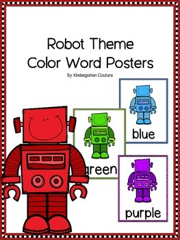 Robot Theme Color Word Posters