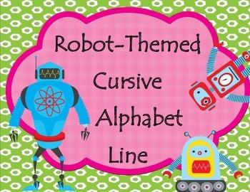 Robot-Theme Cursive Alphabet Line (Landscape Orientation)