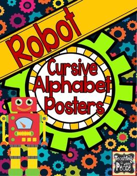 Robot Theme Cursive Posters