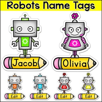 Robot Theme Name Tags and Locker Labels