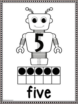 Robot Theme Number Posters with Ten Frames