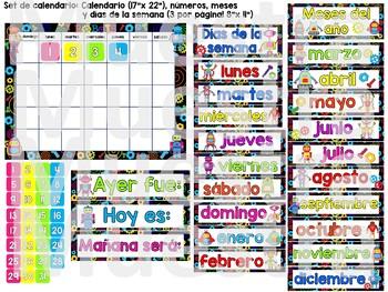 Robot Theme Spanish Calendar Set