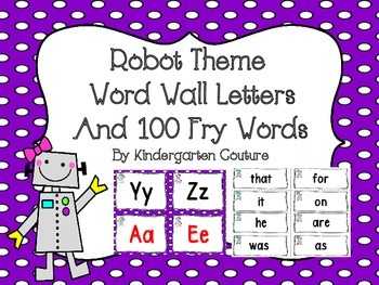 Robot Theme Word Wall Letters and 100 Fry Word Cards  Editable Word Page