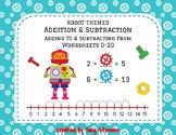 Robot Addition & Subtraction Worksheets On Number Line