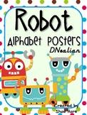 Robot Themed Classroom Alphabet Posters DNealian Font