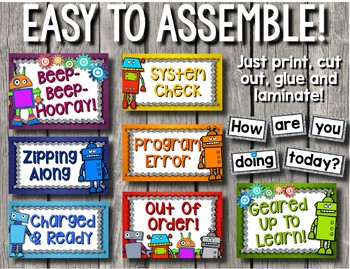 Robot Behavior Clip Chart With Editable Pages By Teacher S Breathing Space