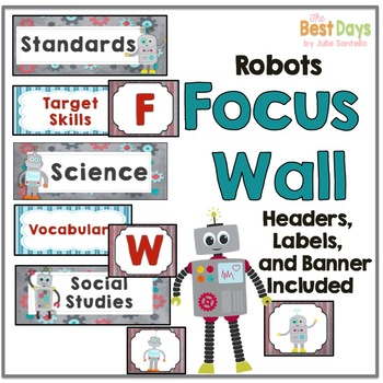 Robot Themed Classroom Decor:  Focus Wall Headers or Classroom Labels